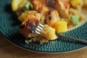 Blackened Chicken with Quinoa Salad close up