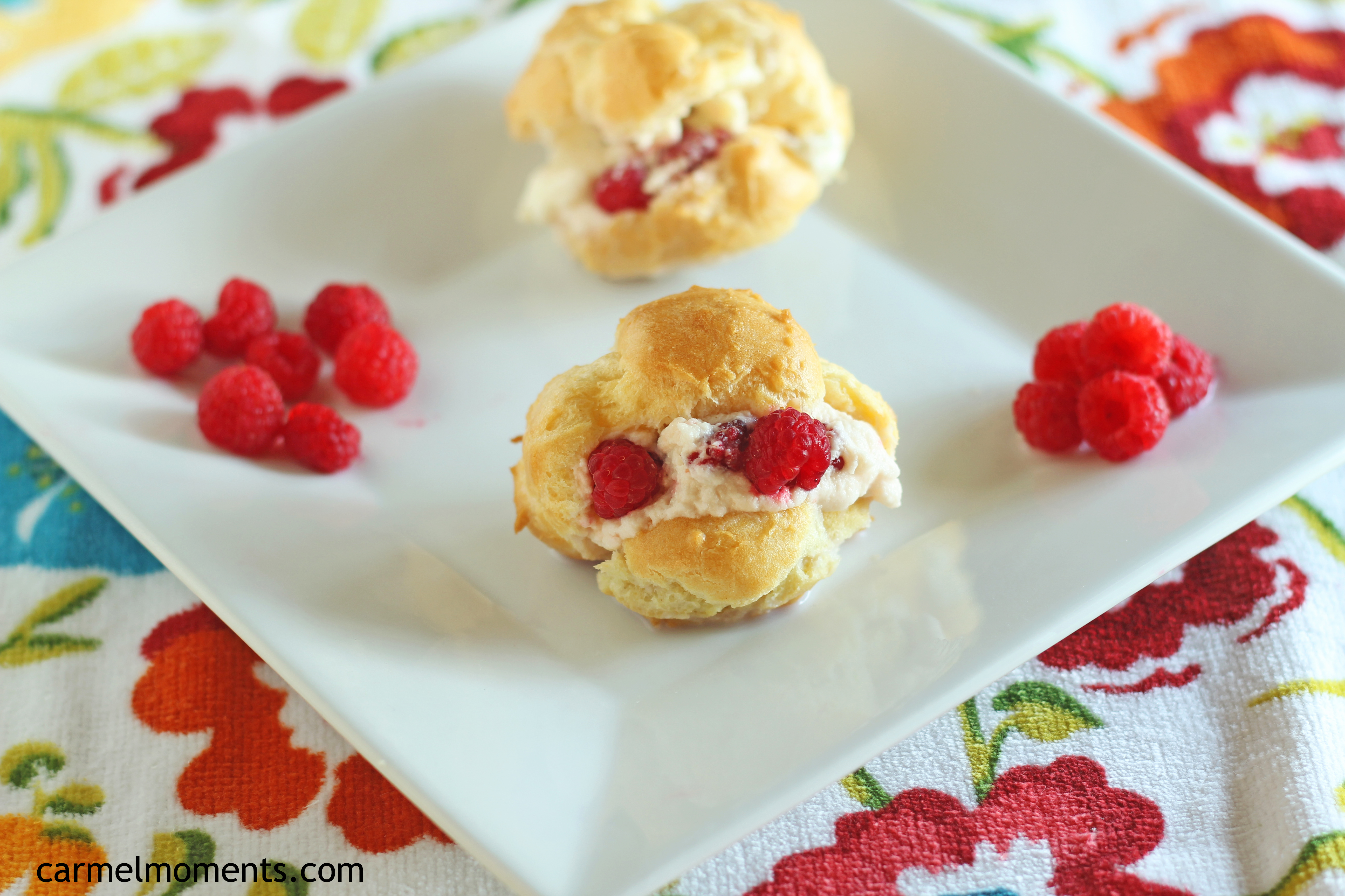 Cream Puffs with Raspberry Whipped Cream