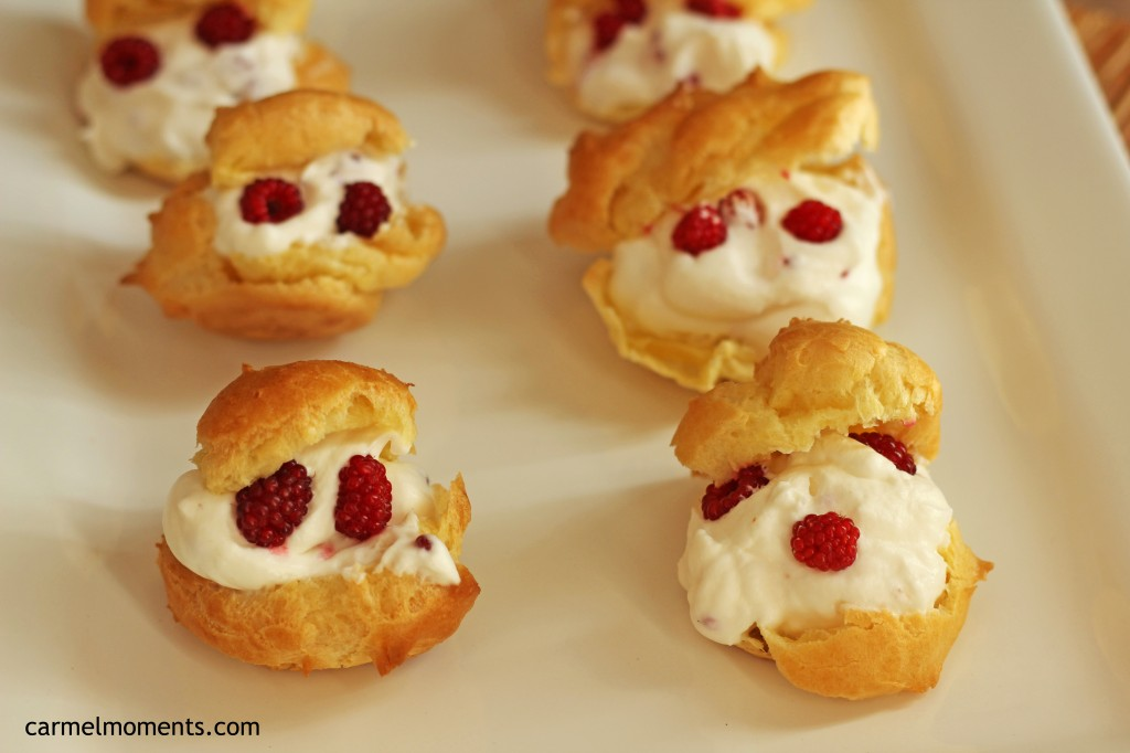 Cream puffs Raspberry whipped cream
