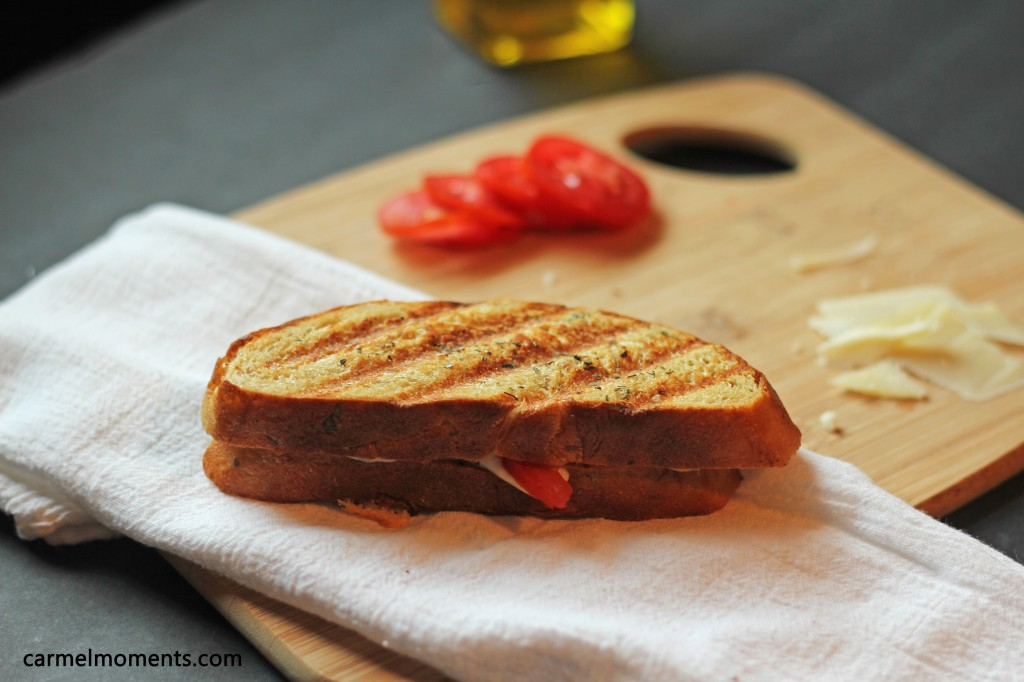 Tomato, mozzarella and parmesan panini