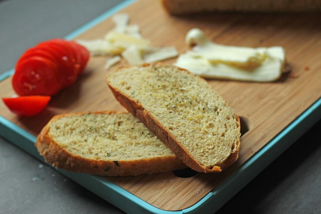 Tomato, mozzarella and parmesan panini gatherforbread.com
