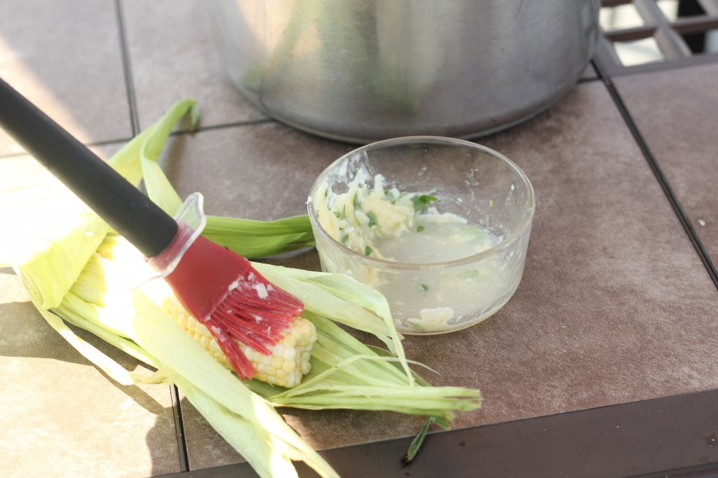 Grilled corn with lemon basil butter | gatherforbread.com