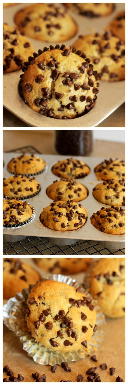 Banana Chocolate Chip Muffins – Fluffy, soft banana muffins studded ...