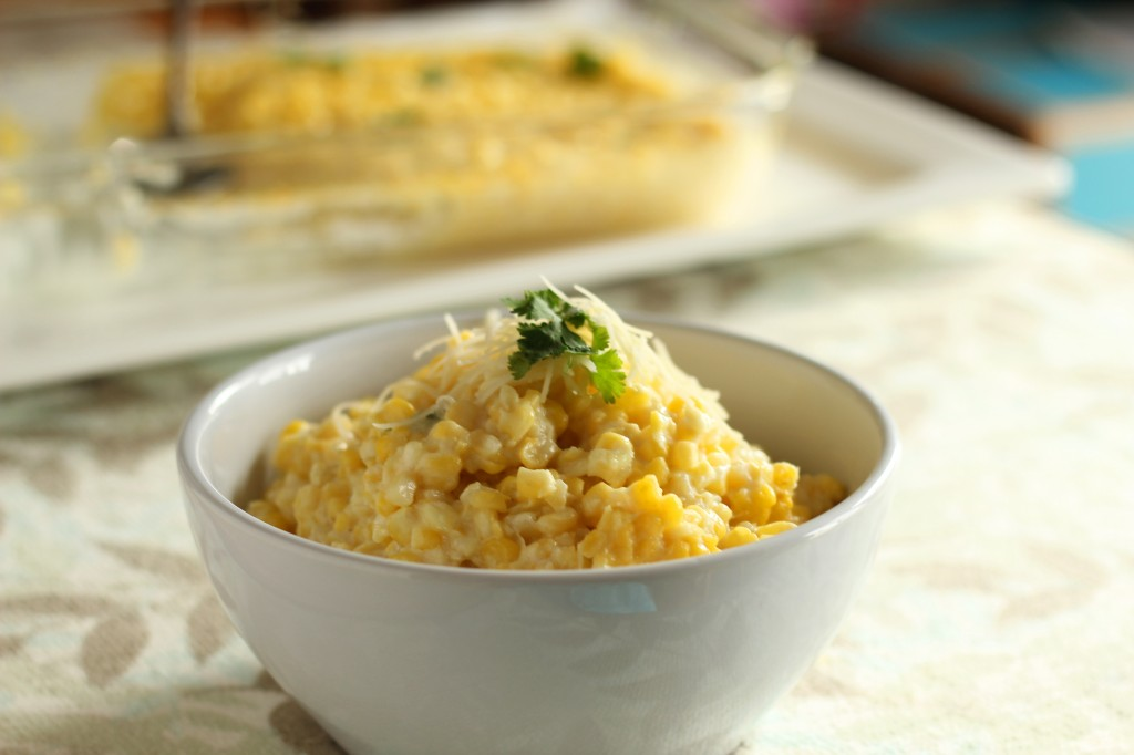 Creamy Baked Corn with Parmesan -- Simple delicious side dish that's wonderfully creamy | gatherforbread.com