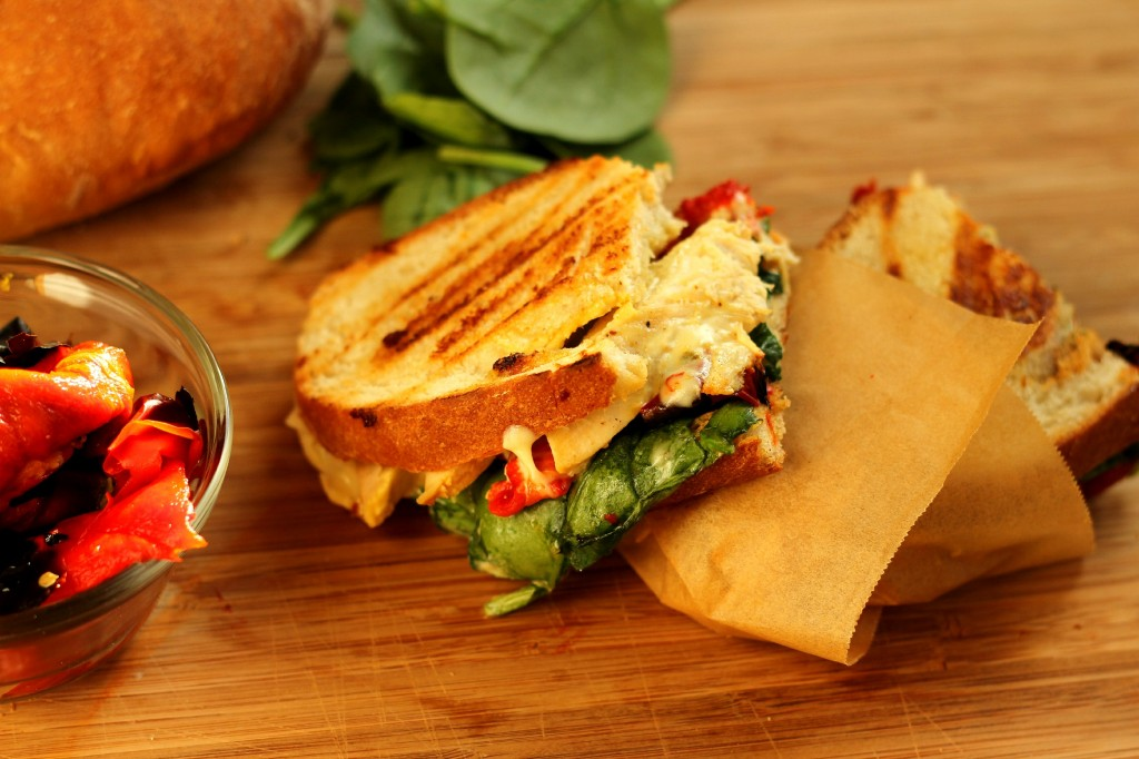 Chicken Panini with Roasted Red Peppers and Pepper Jack Cheese