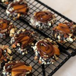 Dark Chocolate Caramel Thumbprints with Almonds