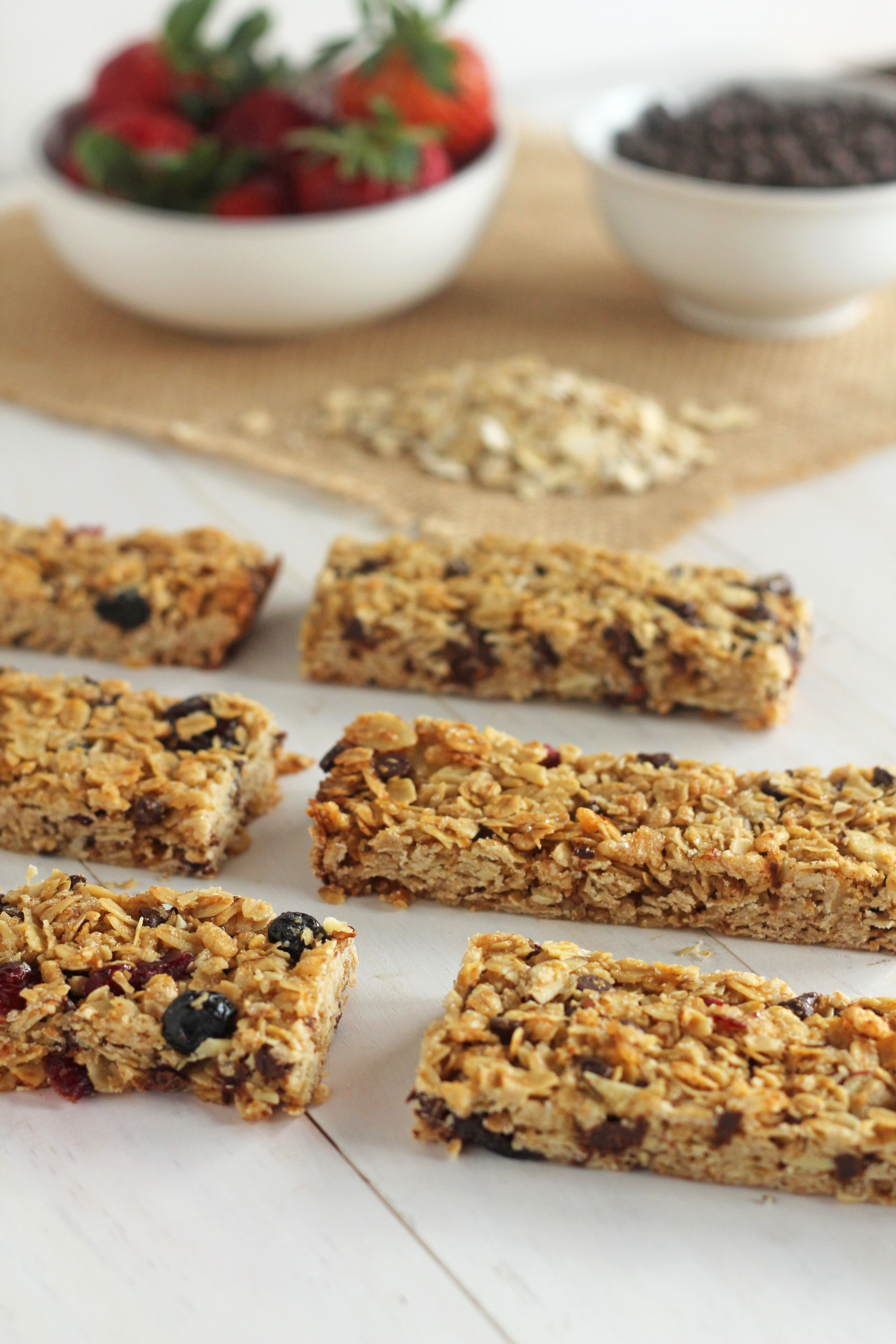 Mixed berry chocolate chip granola bars gather for bread