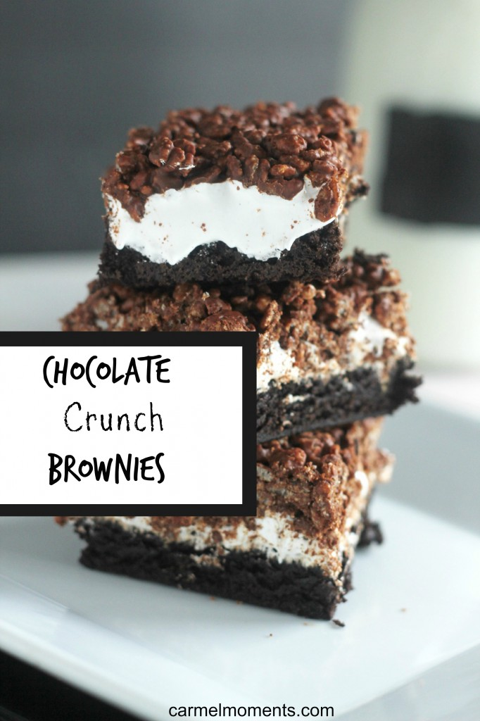 Chocolate Crunch Brownies A chewy brownie topped with marshmallow and chocolate krispies. A favorite for all.