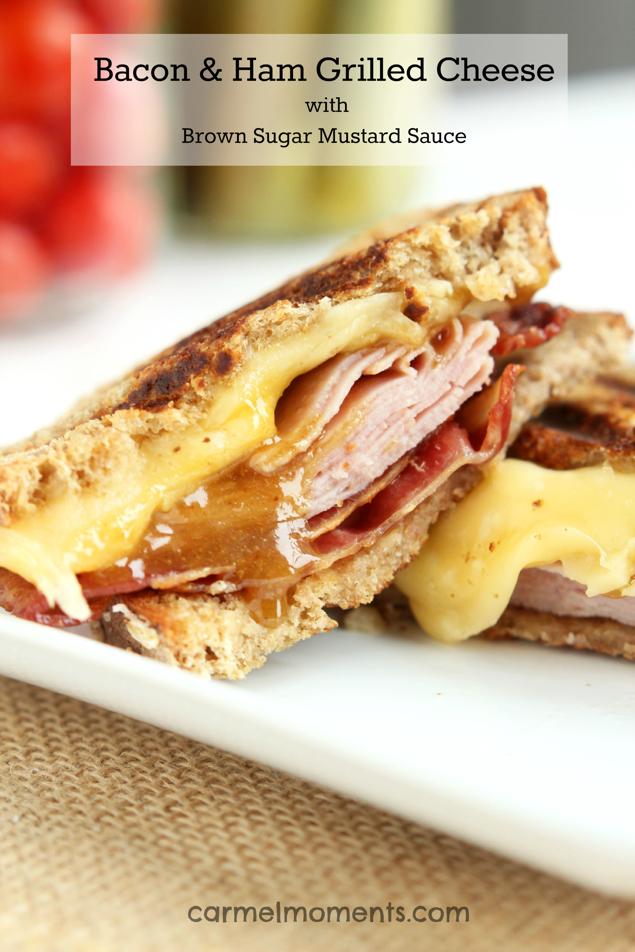 Bacon Ham Grilled Cheese with Brown Sugar Mustard Sauce