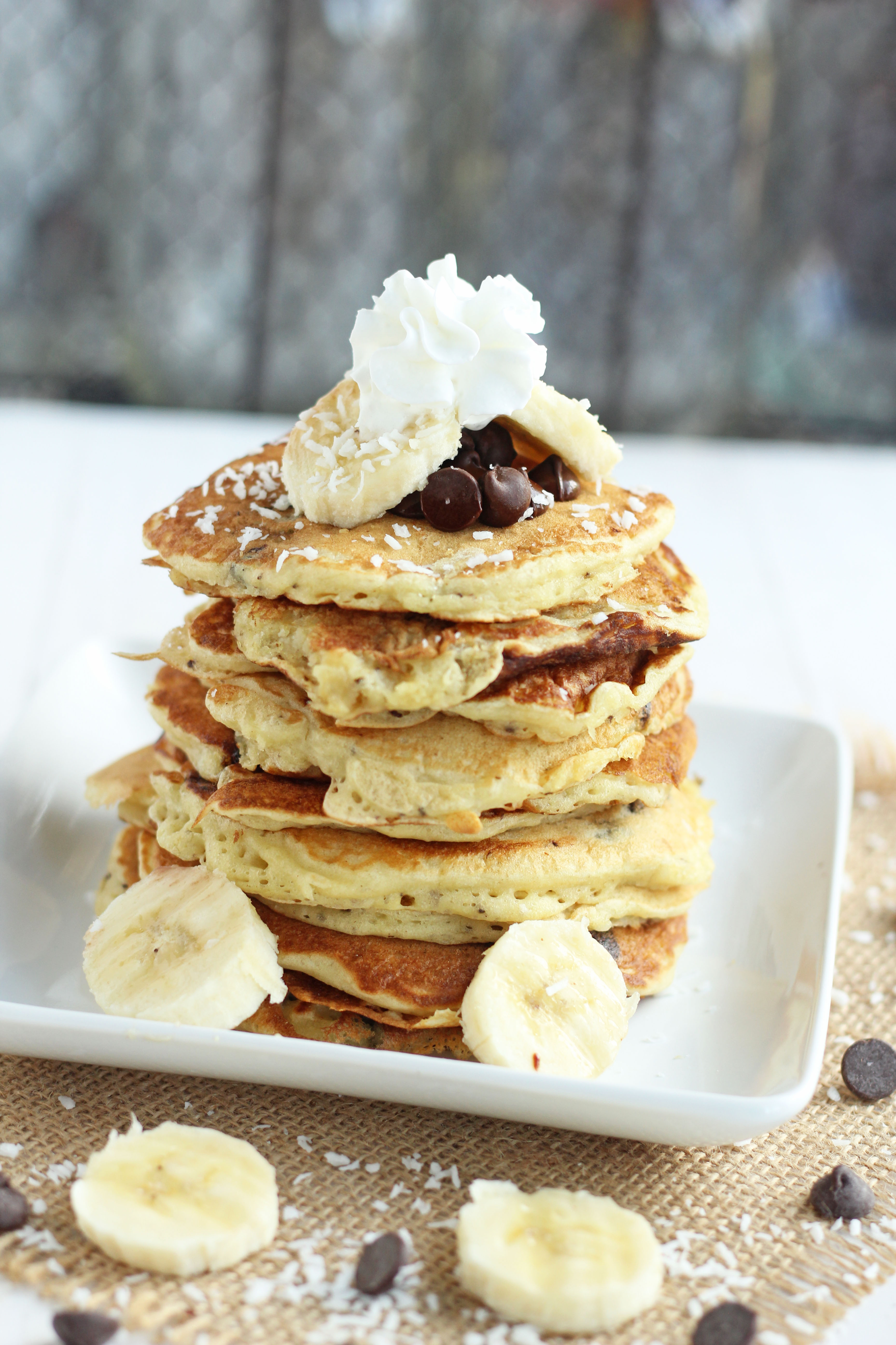 Banana Coconut Chocolate Chip Pancakes