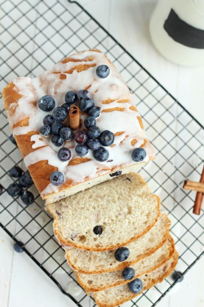 Blueberry Cinnamon Bread with Vanilla Glaze