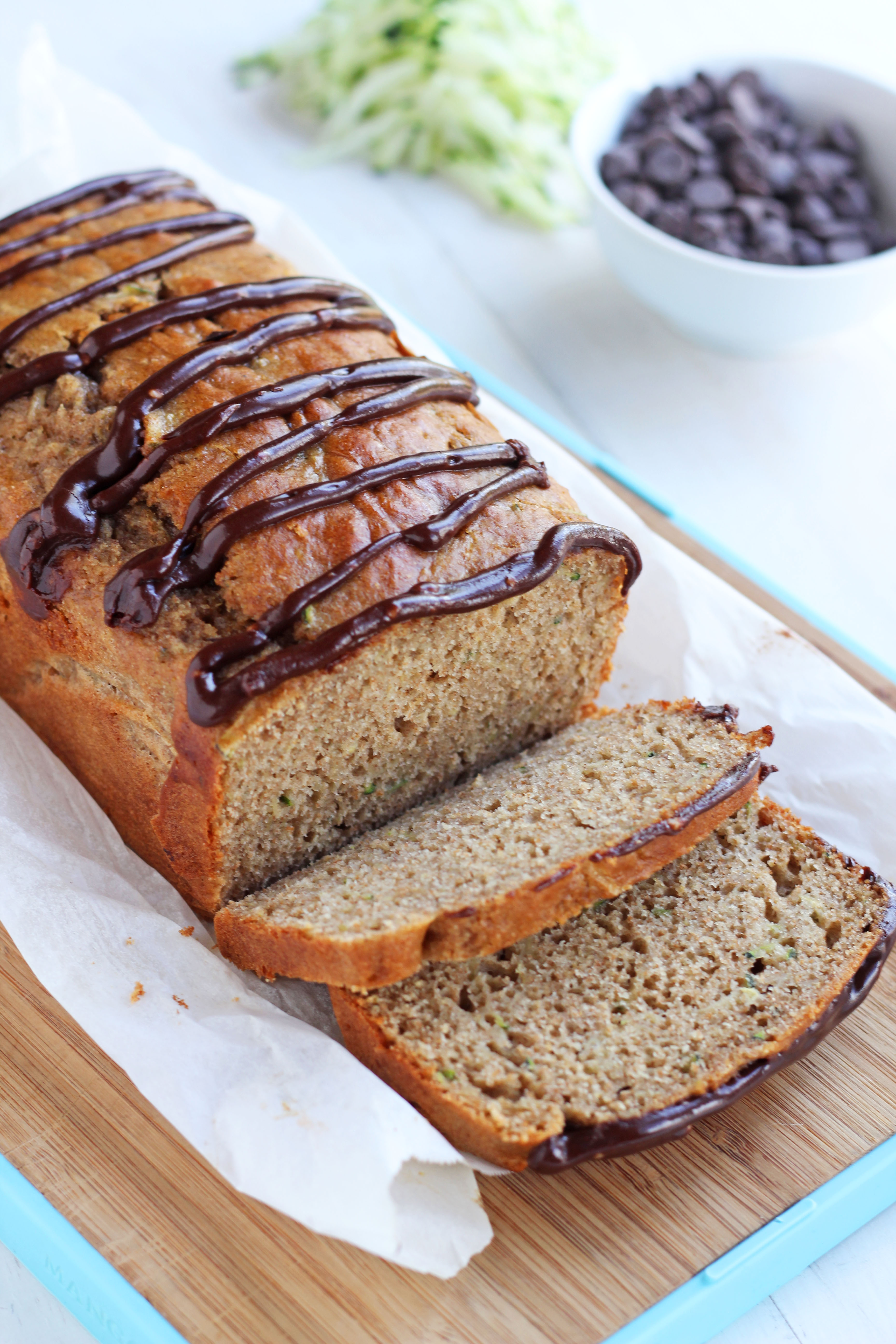 Zucchini bread with chocolate glaze