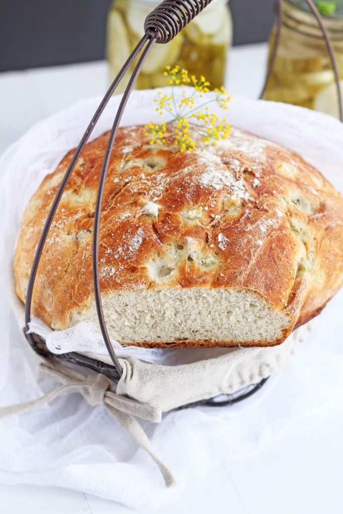 Dill Pickle Bread – Delicious yeast bread with the full flavor of dill pickle. This bread makes the perfect addition to any summer meal or picnic. Wonderful served alongside hot dogs or hamburgers!
