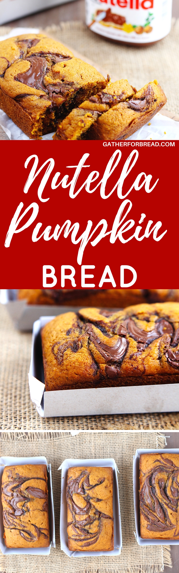 Nutella Swirled Pumpkin Bread - Fall pumpkin loaves swirled with a good dose of Nutella. A fall favorite!!!
