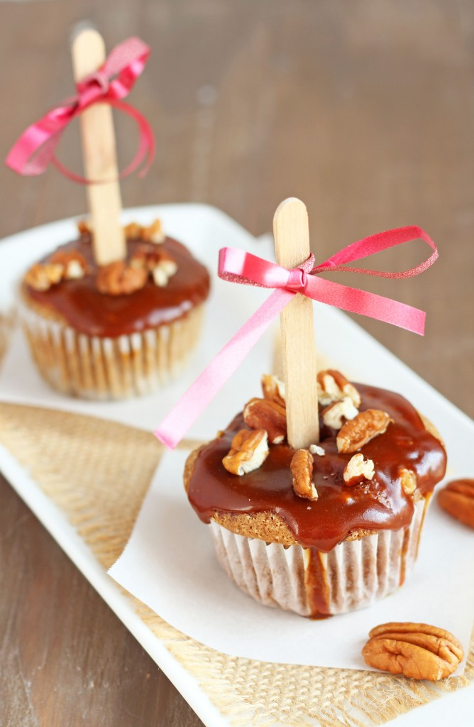 Caramel Apple Cupcakes - These perfect little cupcake are made with real apples and topped with delicious caramel glaze! | gatherforbread.com