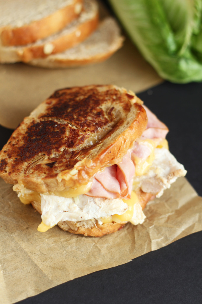 Chicken Cordon Blue Grilled Cheese - Family favorite with the best - ham, fresh grilled chicken and topped with melty smooth Swiss cheese. Hearty sandwich for lunch or dinner. | gatherforbread.com