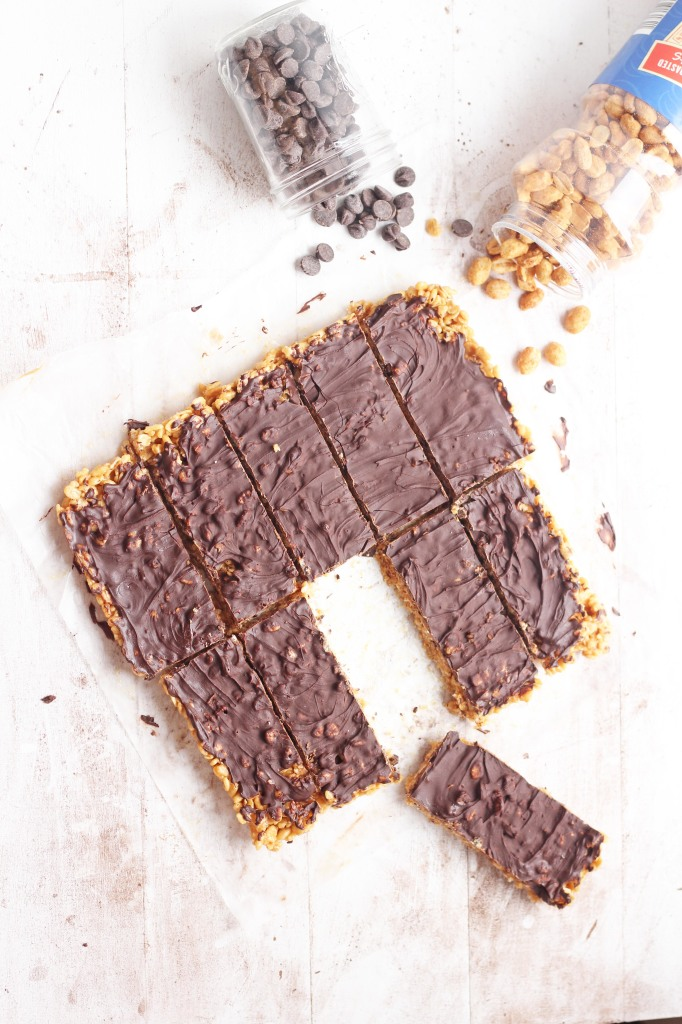Nuts over Chocolate Bars --Peanut butter combined with krispies and chocolate to make delicious copycat Luna bars  | gatherforbread.com