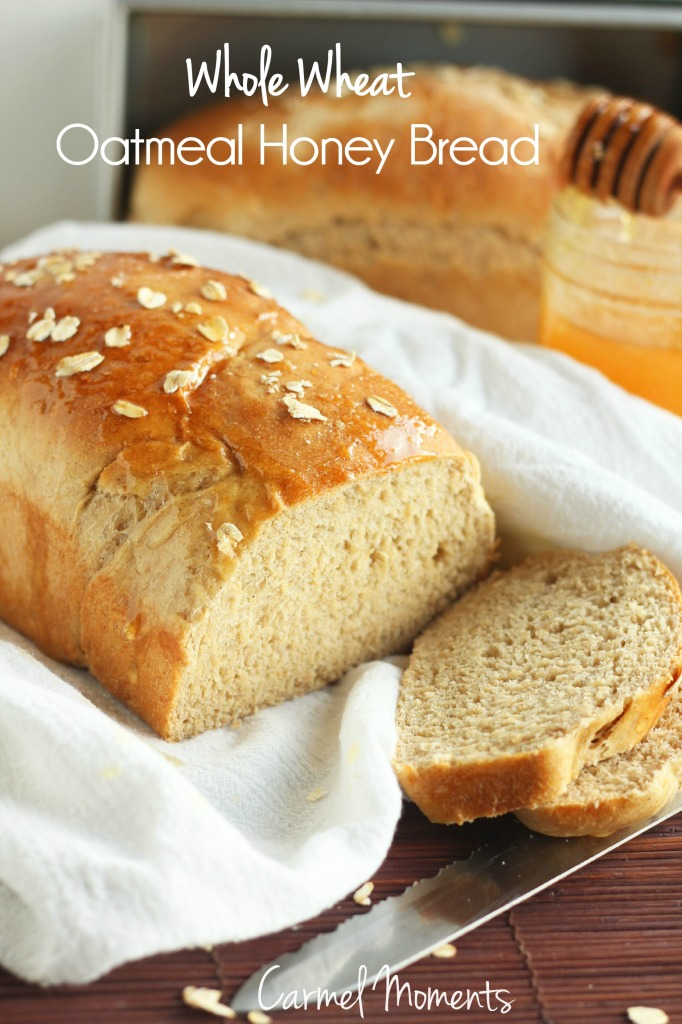 Soft and slightly sweet whole wheat oatmeal honey bread. Perfect for ...