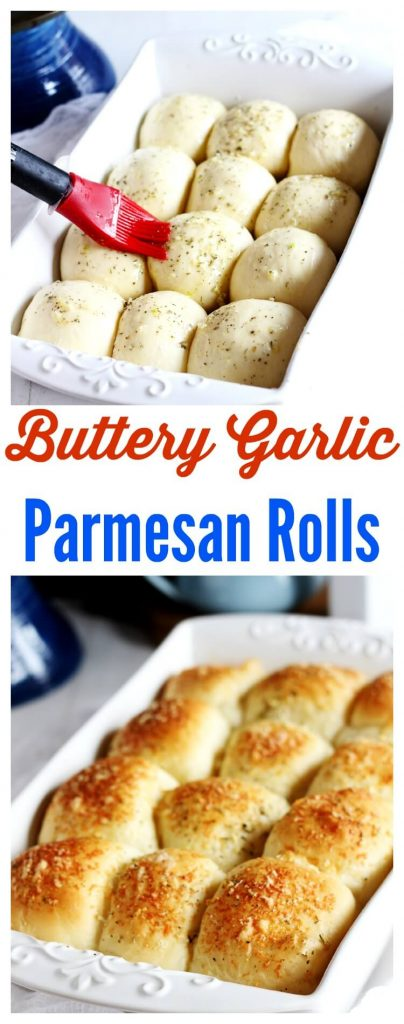 Buttery garlic Parmesan rolls. These soft rolls melt in your mouth and perfect to serve guests or family with your favorite meal at the holidays like Thanksgiving or Christmas.