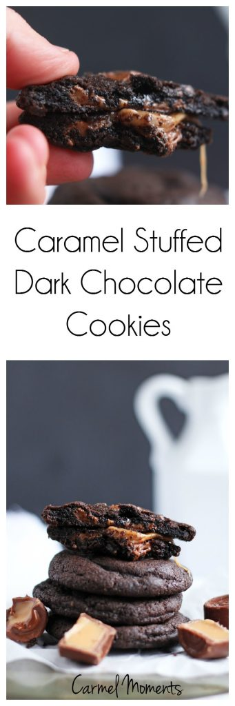 Chocolate Caramel Stuffed Cookies -- Soft dark chocolate cookie dough wrapped around Rolo candies for a perfect cookie #fbcookieswap | gatherforbread.com