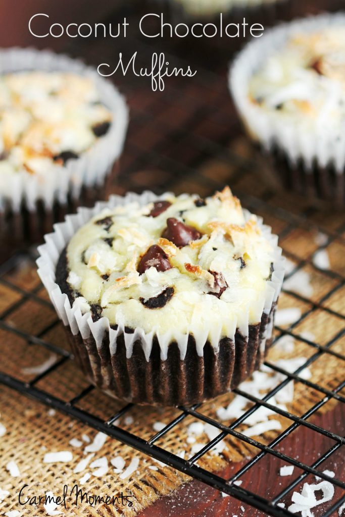 Coconut Chocolate Muffins – Moist and flavorful. Cream cheese adds ...