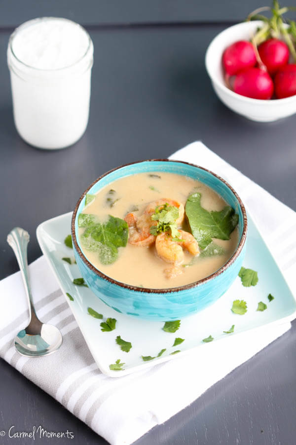 Coconut Spinach Shrimp Soup - Super simple and healthy soup made with coconut milk . Table ready in 15 minutes!