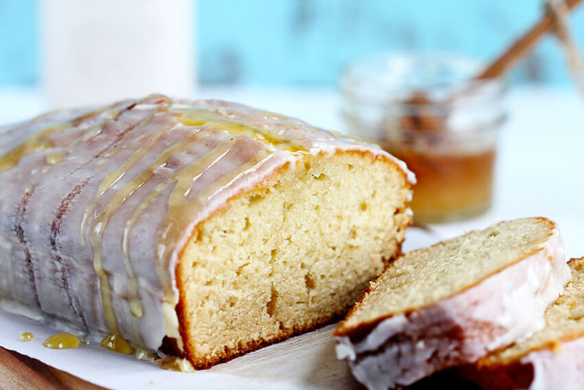 Honey Vanilla Pound Cake – This decadent loaf is made with real butter, vanilla almond milk and a hint of honey. Topped with a delicious rich honey vanilla glaze.