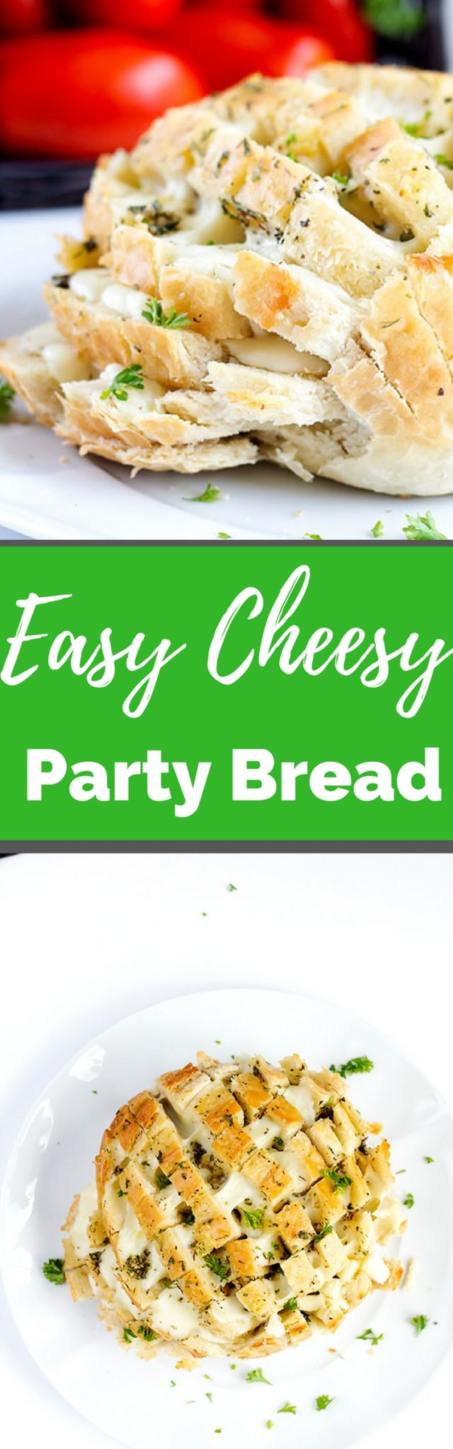 Easy Cheesy Party Bread - Perfect pull apart loaf for sharing. Stuffed with cheese and herbs.