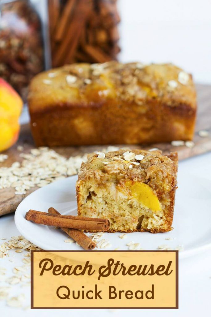 Peach Streusel Quick Bread - Delicious fruity quick bread made with fresh peaches and topped with a crunchy oat streusel. Summer's best for breakfast, brunch or snack