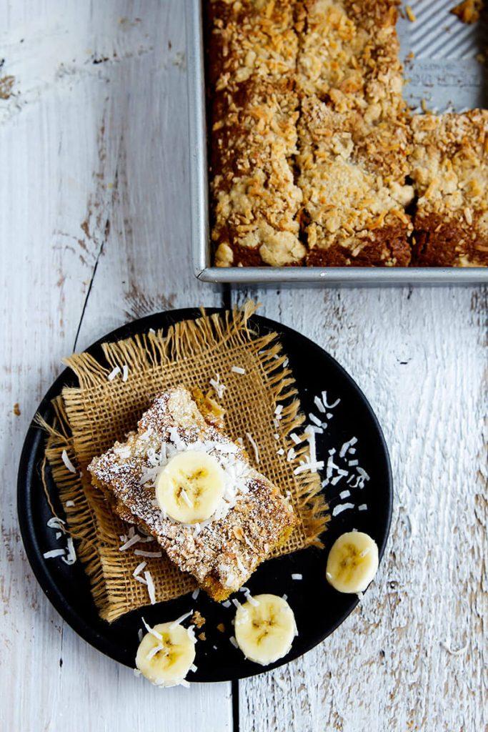 Simple Banana Coconut Crumb Cake // @gatherforbread