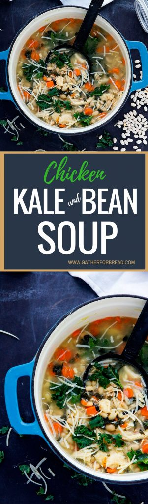Chicken Kale White Bean Soup - Comforting homemade soup recipe filled with chicken, healthy kale, hearty white beans in a chicken stock base. Made with creamy Parmesan, and gluten free.