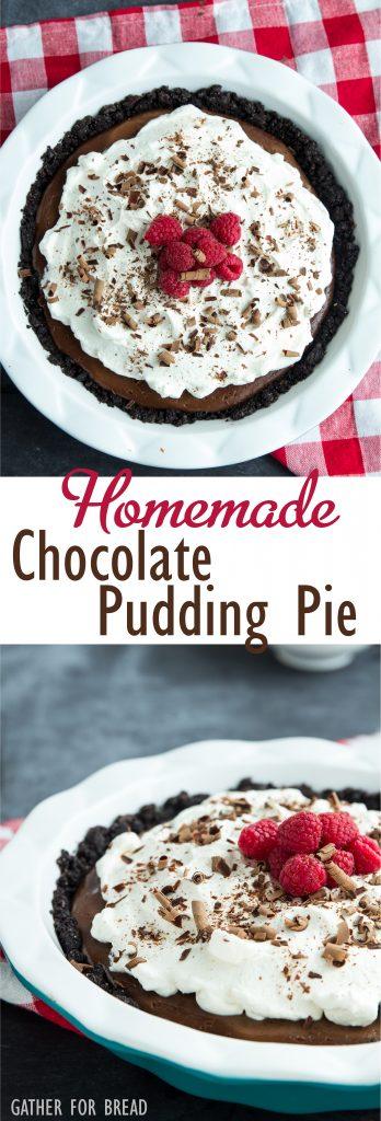 Homemade Chocolate Pudding Pie | gatherforbread.com