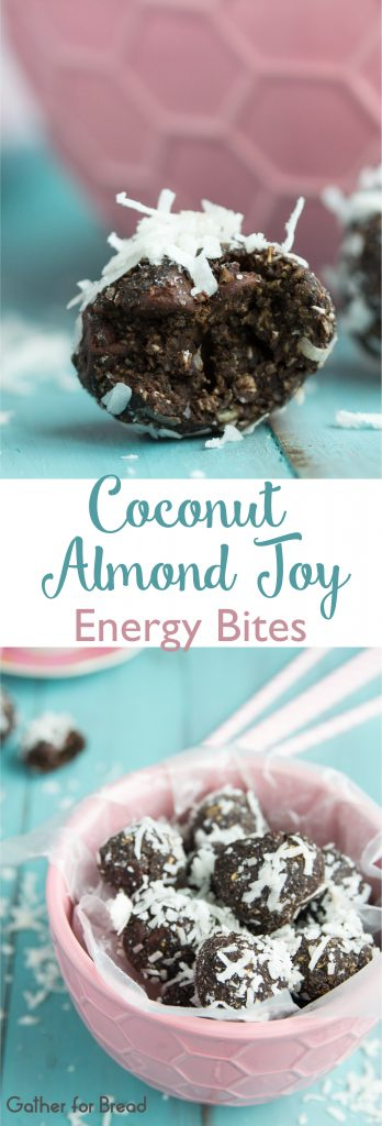 Coconut Almond Joy Energy Bites | gatherforbread.com