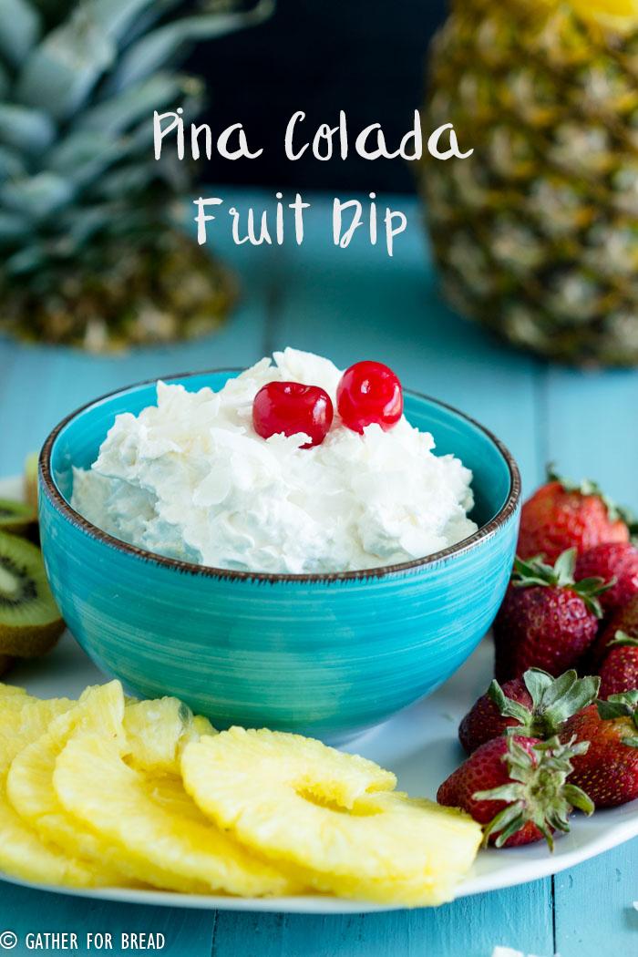Pina Colada Fruit Dip - Delicious creamy pina colada dip. Whips up with 4 easy ingredients. Made in minutes, perfect for dipping with fruits; strawberries, pineapple and kiwi.