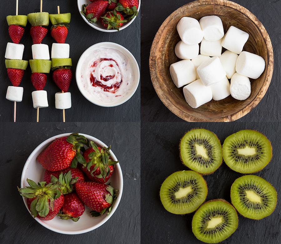 Strawberry Kiwi Kabobs - Simple, snack made in minutes with fresh strawberries, kiwi marshmallows. Easy fun, snack paired with Strawberry Greek yogurt dip