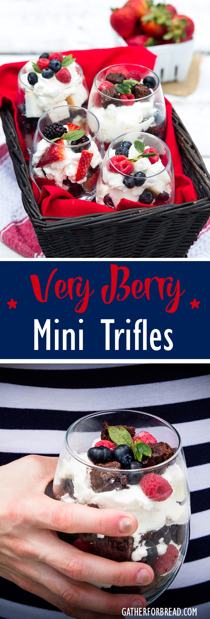 Very Berry Mini Trifles -Mini berry trifles made with angel food cake and brownies. Sweetened with home made whipped cream and assorted fresh berries. | gatherforbread.com