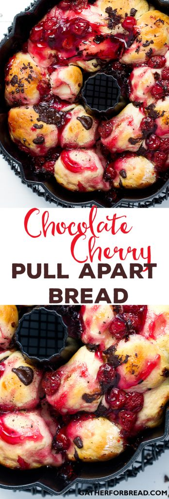 Chocolate Cherry Pull Apart Bread - Homemade bread with a sweet cherry and chocolate touch. Irresistible!