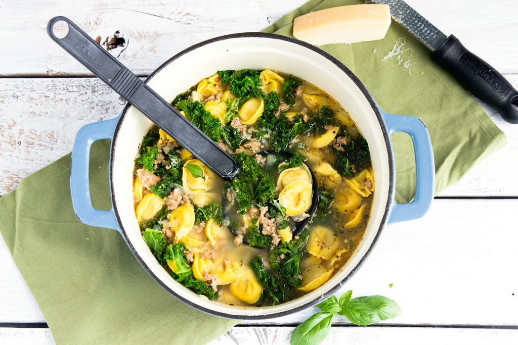 Cheese Tortellini Soup With Cannellini, Kielbasa, And Kale Recipe ...
