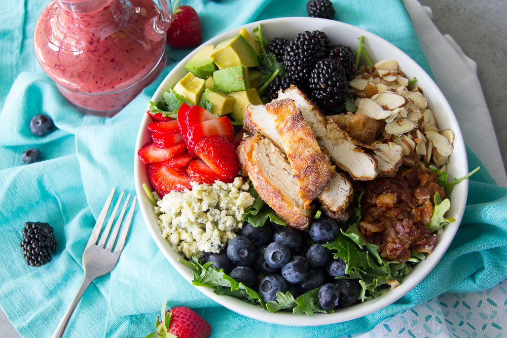 Fried Chicken Triple Berry Kale Salad - Gather for Bread