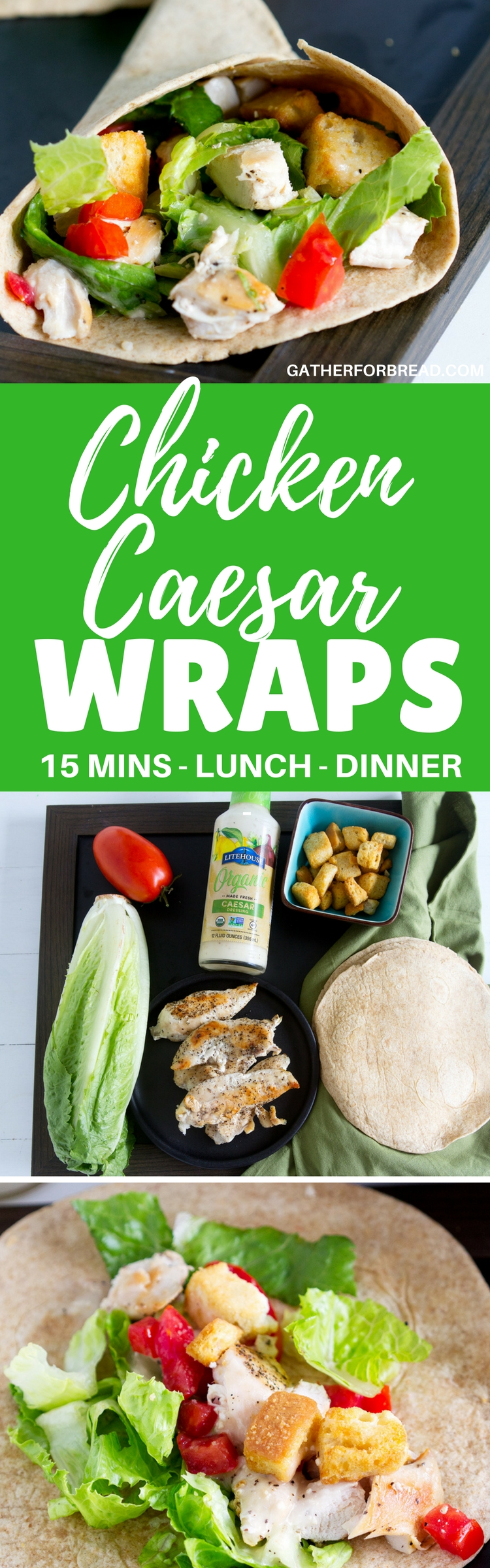 Chicken Caesar Wraps //  Quick easy meal. Wraps with chicken breast, romaine lettuce, fresh tomatoes, croutons and Caesar dressing make a simple easy lunch or dinner. Ready in less than 20 minutes!!!