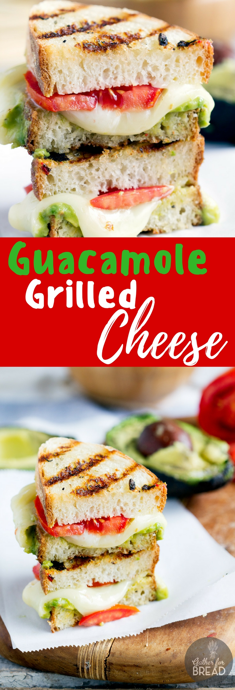 Guacamole Grilled Cheese - Grilled cheese sandwich bursting with gooey cheese and guacamole. This recipe makes a whole new way to enjoy a grilled cheese sandwich. Delicious!