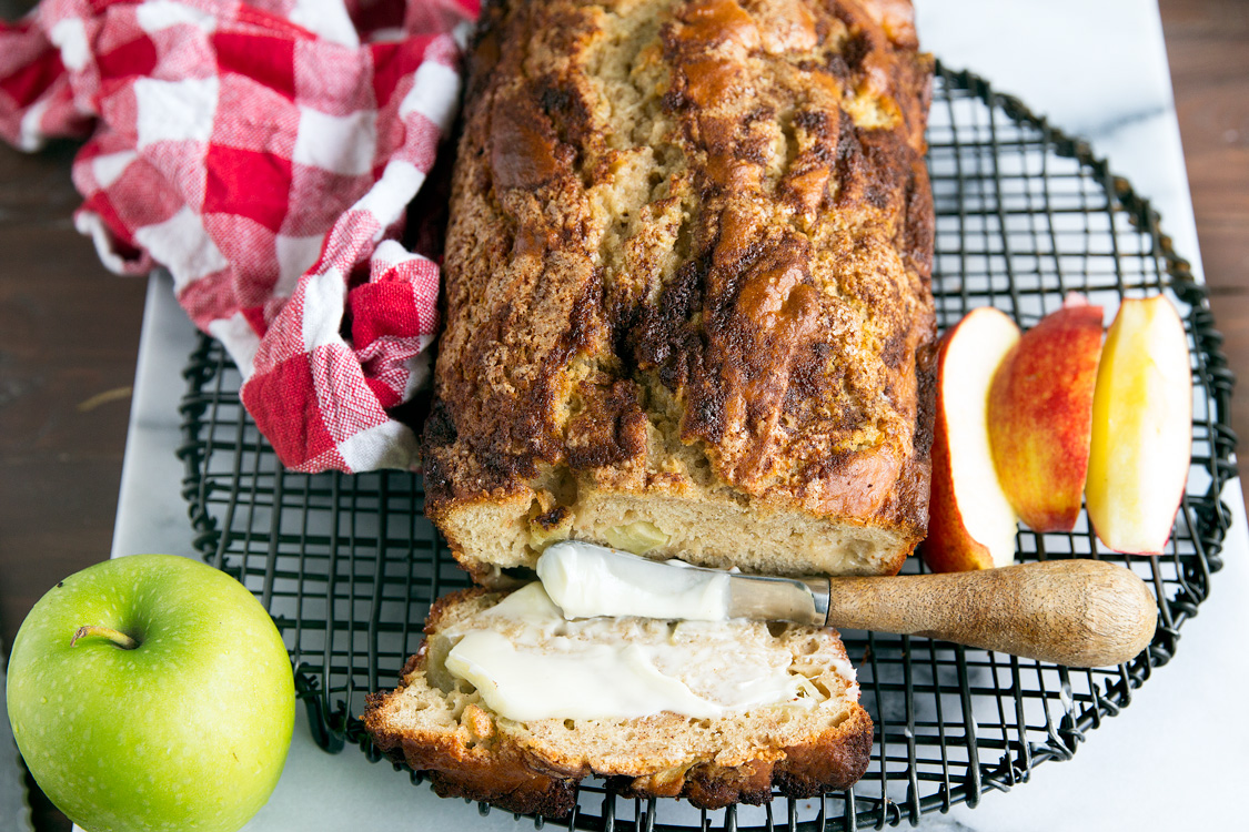 Homemade Apple Cinnamon Quick Bread - Recipe for fresh apple bread using real tart apple chunks, Greek yogurt and topped with a simple cinnamon sugar topping.