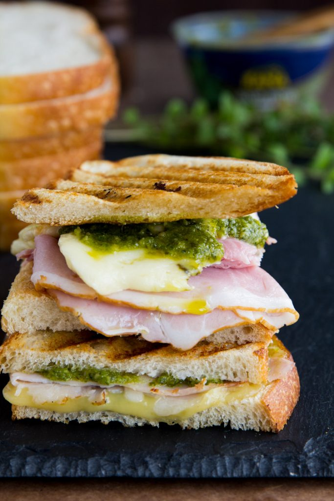 Ham Provolone Pesto Grilled Cheese - Layers of deli ham, Swiss cheese and pesto combine for a perfect lunch sandwich. Grilled cheese perfection with a twist.