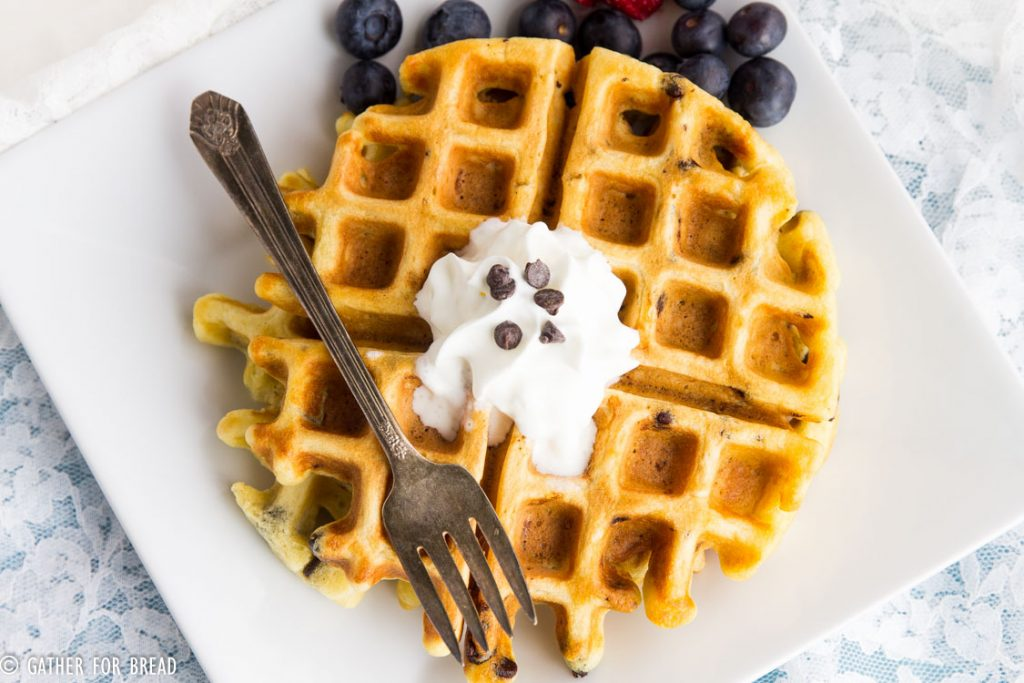 Chocolate Chip Buttermilk Waffles - Made with real buttermilk and mini chocolate chips, these breakfast waffles are the perfect way to say Good Morning.