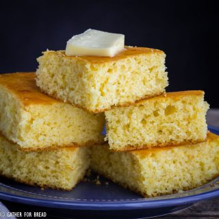 Slightly sweet golden yellow corn bread. simple homemade bread recipe made with milk, perfect with chili or soup. Make as muffins or a loaf.