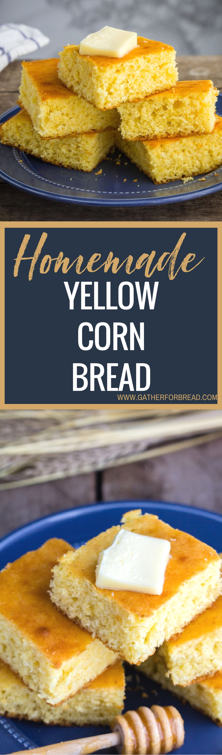 Homemade Yellow Corn Bread - Slightly sweet golden yellow corn bread. Simple homemade bread recipe made with milk, perfect with chili or soup. Make as muffins or a loaf.