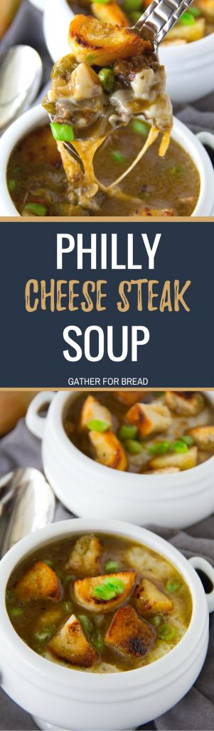 Philly Cheesesteak Soup - Homemade Philly Cheesesteak soup combines tender flank steak with onion, green pepper, mushrooms, provolone cheese, beef bone broth and crunchy homemade croutons.