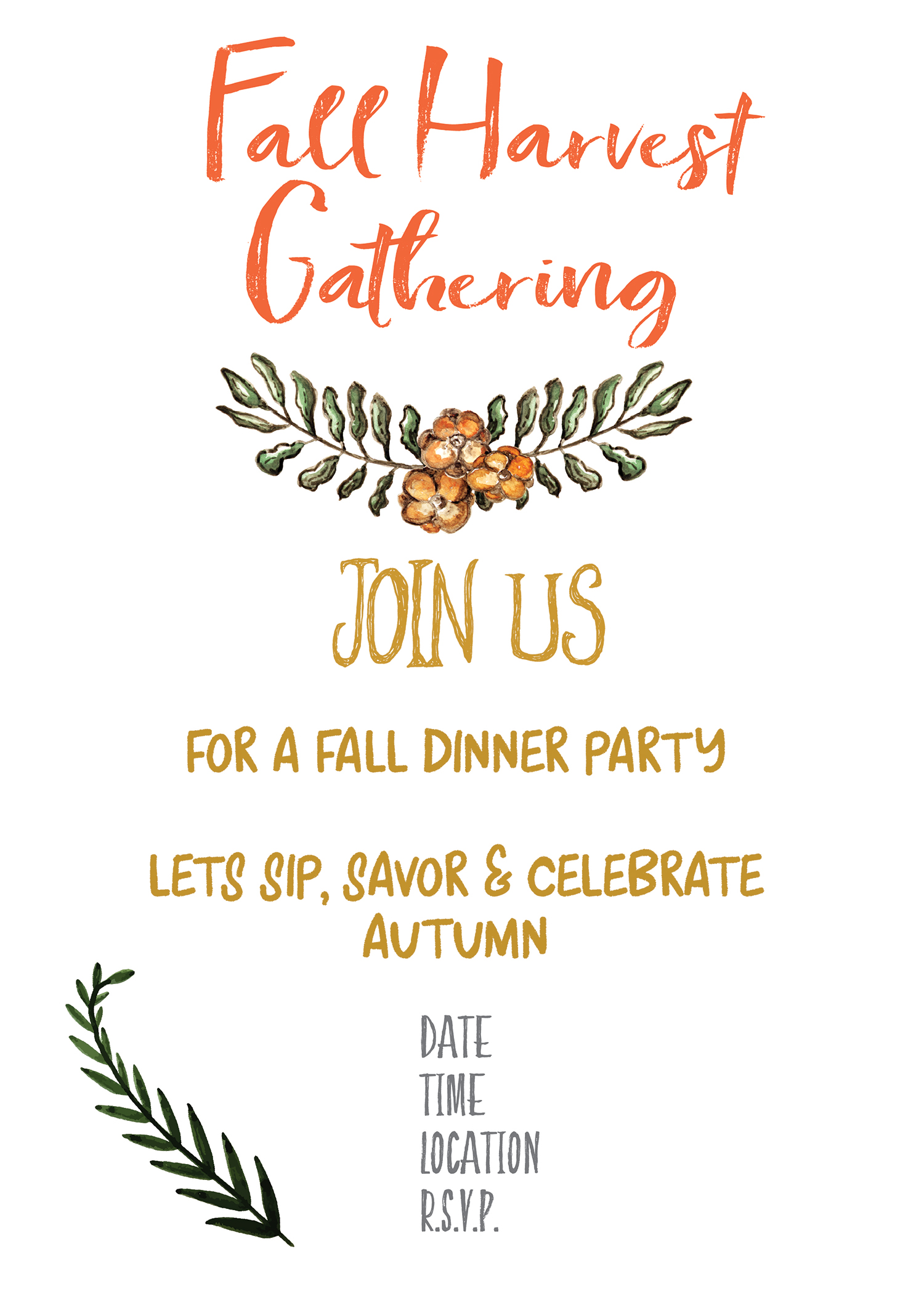 Fall Harvest Party Invitation Printable - Gather for Bread
